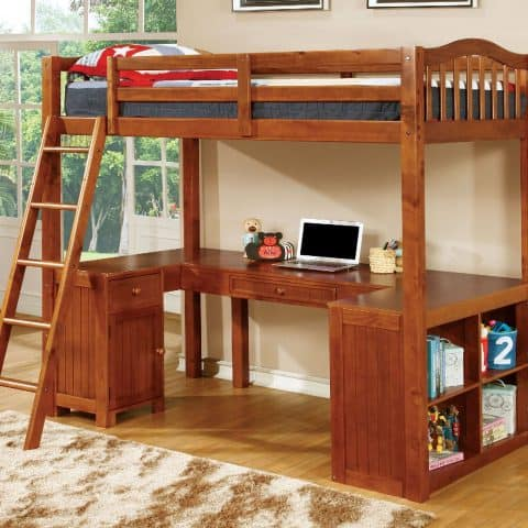 Twin Loft Bunk Bed With Desk In Oak