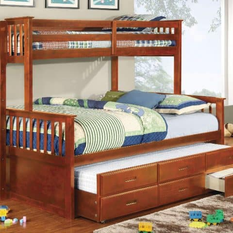 Twin XL Over Queen Bunk Bed with Trundle & 3 Drawers