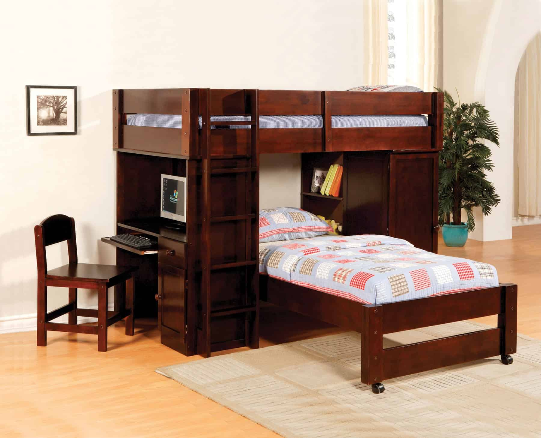 Twin Loft Bunk Bed With Stairs Desk Affordable Home Furniture