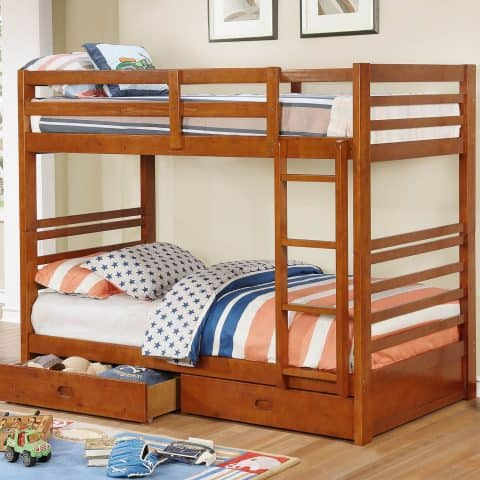 Oak Twin Over Twin Bunk Bed/W 2 Drawers