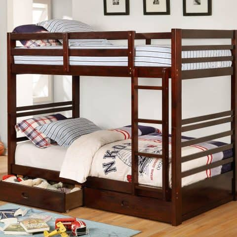 Dark Walnut Twin Over win Bunk Bed With 2 Drawers