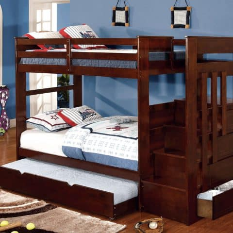 Dark Walnut Twin Over Twin Bunk Bed with Stairs