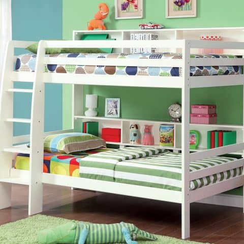 White Twin Bunk Bed with Storage Shelves
