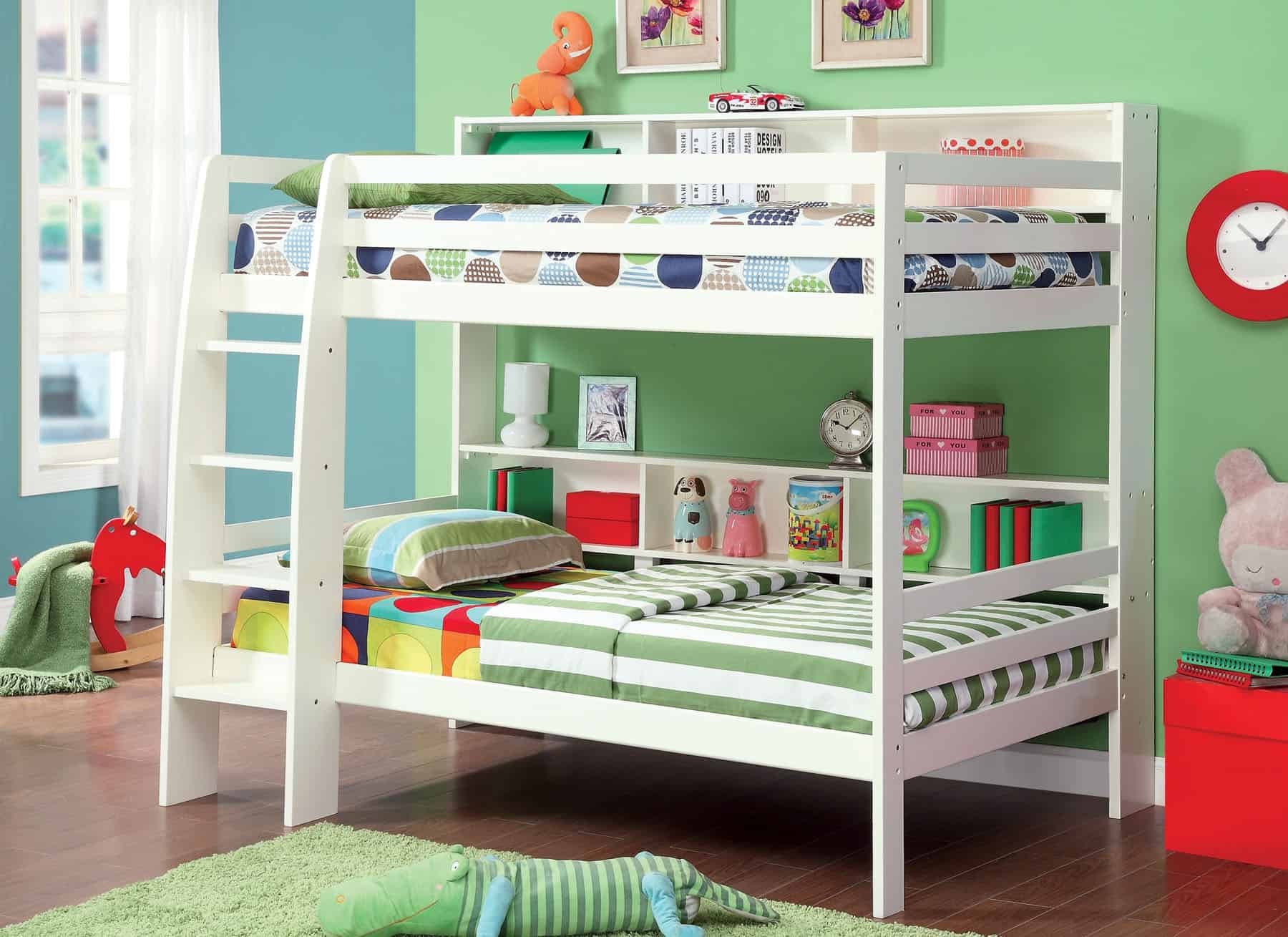 White Twin Bunk Bed With Storage Shelves Affordable Home Furniture