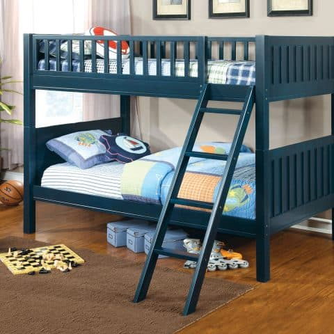 Dark Blue Twin Over Twin Bunk Bed