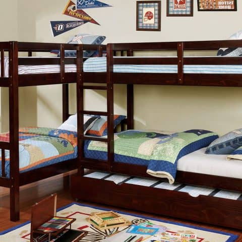 L Shaped Quadruple Twin Bunk Bed