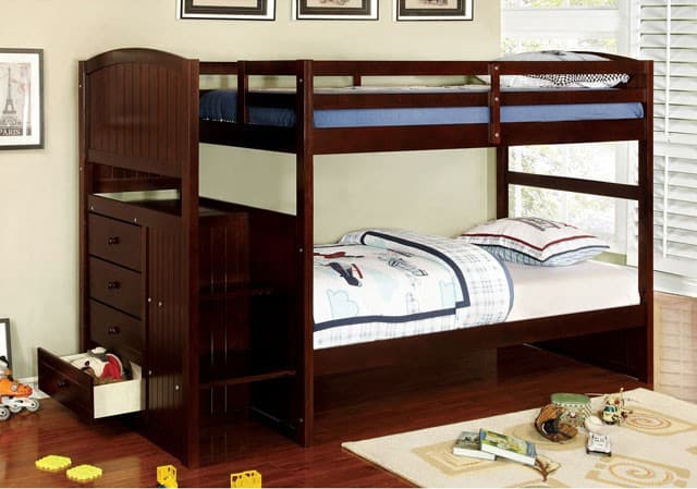 twin over twin size bunk bed with stairs