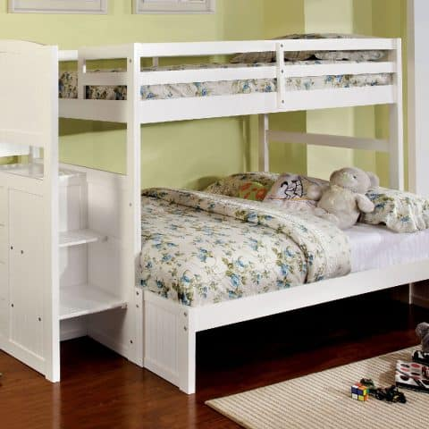 White Twin Over Full Size Bunk Bed