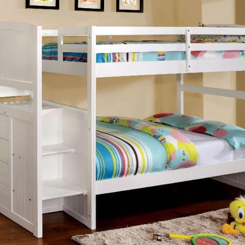 White Twin Over Twin Size Bunk Bed With Stairs