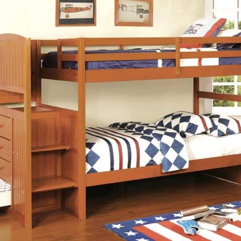 Oak Twin Over Twin Bunk Bed with Stairs