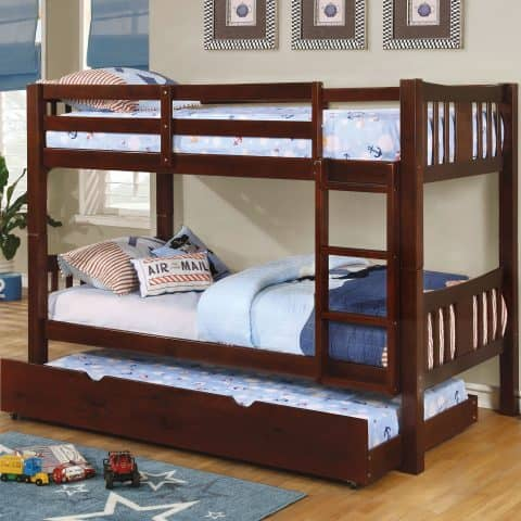 Twin Over Twin Bunk Bed Dark Walnut