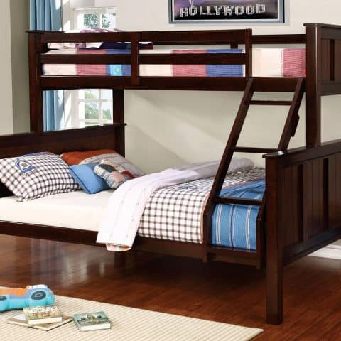 Dark Walnut XL Twin Over Queen Bunk Bed