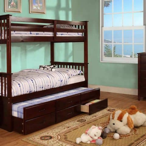 Twin Over Twin Bunk Bed with Trundle & 3 Drawers