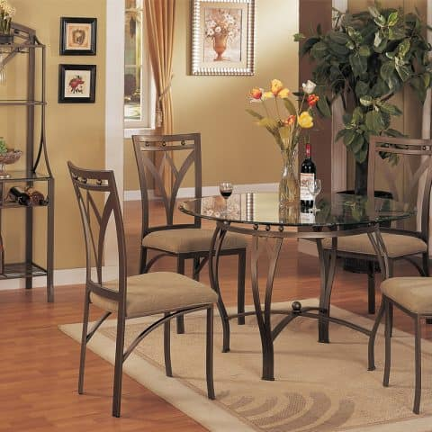 Dinette Set Beveled Round Glass Table
