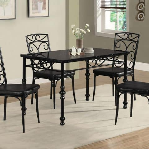 Dinette Table Set Rectangular Black Finish