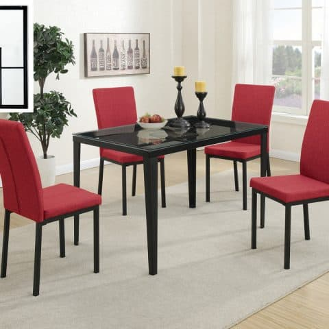 Dinette Glass Table Top Red Fabric Chairs