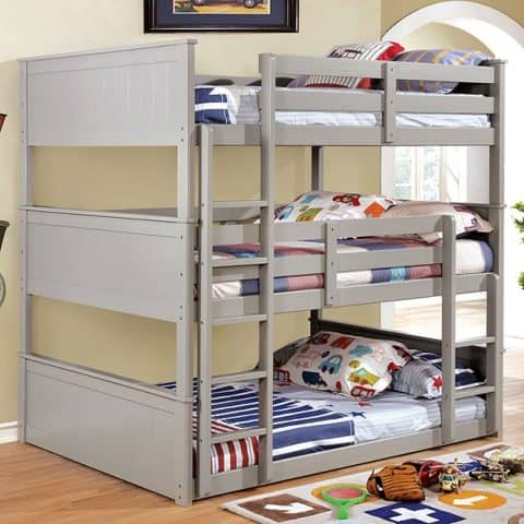 Grey Twin Triple Bunk Bed