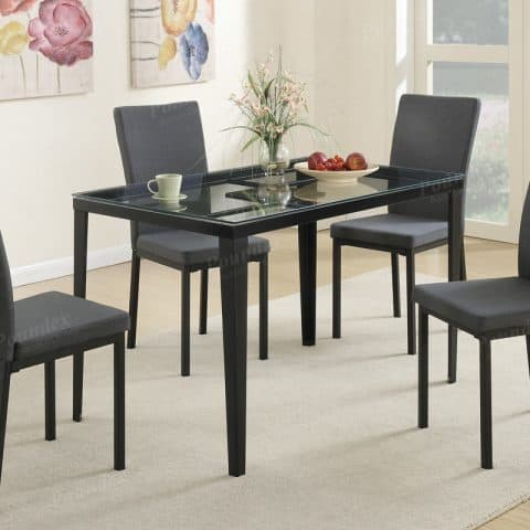 Dinette Glass Table Top Fabric Chairs