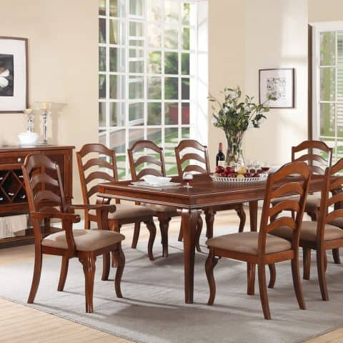 Formal Dining Set Featuring Large Rectangular Shaped Table