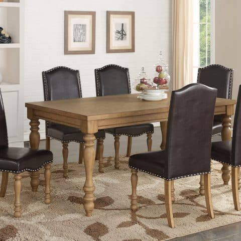 Affordable 7 Piece Formal Dining Table Set Dark Parson Chairs