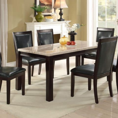 7 PC Dining Table Set Real Marble Tabletop