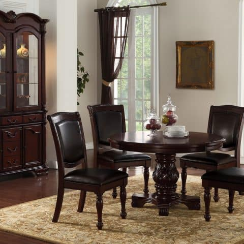 5 Piece Round Formal Dining Table Set