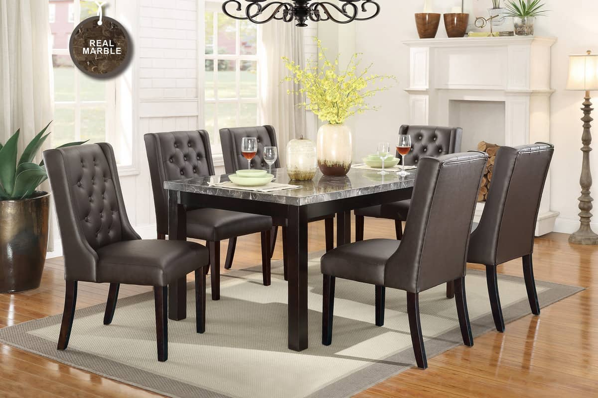 Contemporary marble dining table set affordable home furniture