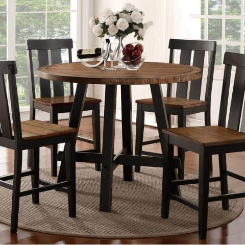 5 Pcs Round Counter Height Dining Set