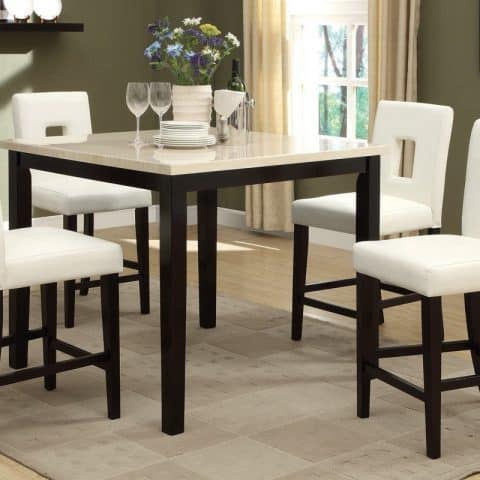 Faux Marble Cream Stone Sate Counter Height Dining Table Set