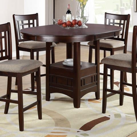5 Pcs Counter Height Dining Set With Leaf
