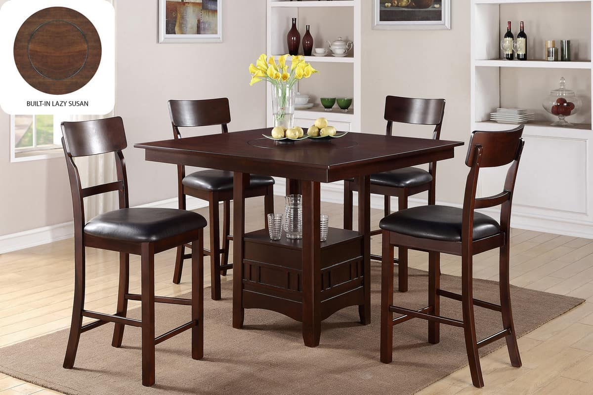 Beau Counter Height Dining Set Built In Lazy Susan | Affordable Home Furniture