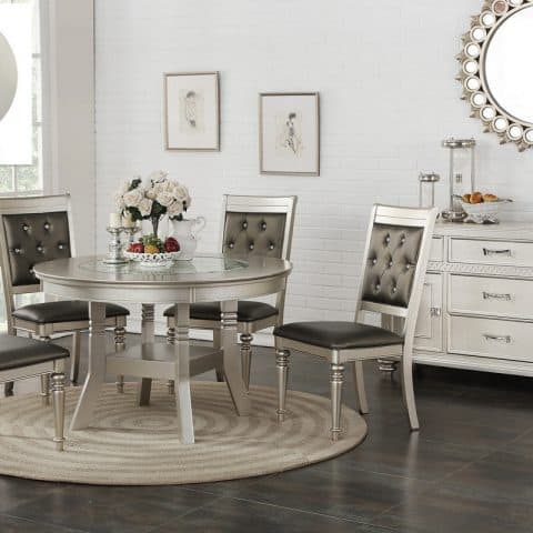 5 Piece Glass & Wood Tabletop Dining Table In Silver