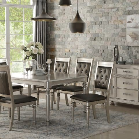 7 Piece Formal Dining Set In Silver