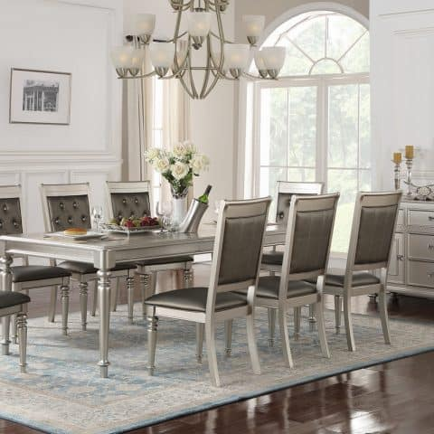 9 Piece Silver Dining Room Set