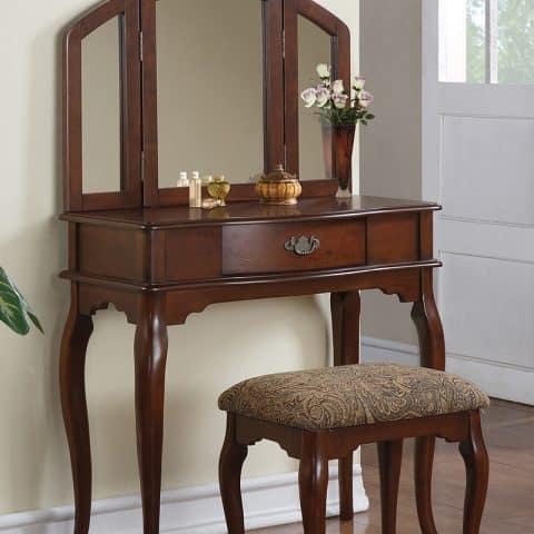 Vanity Cherry Single Drawer Mirror Stool