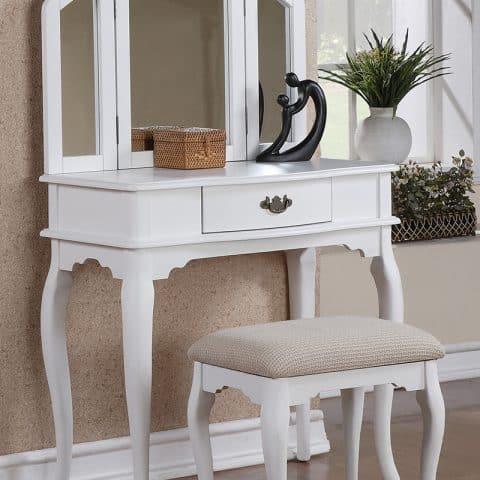 Vanity White With Three Folding Mirrors