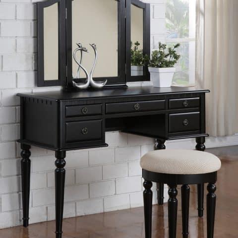 Black Vanity With 3 Mirror Drawers Stool