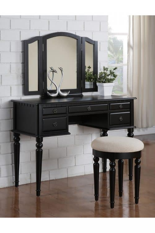 Black Vanity With 3 Mirror Drawers Stool