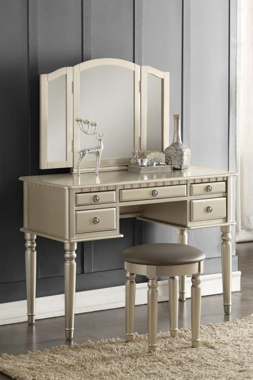 Silver Vanity With Stool