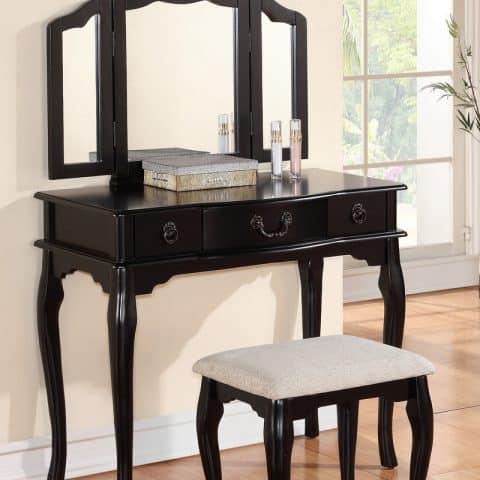 Vanity Black Three Mirror With Stool