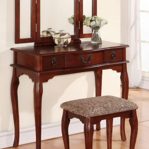 Cherry Vanity With Stool & Three Mirrors