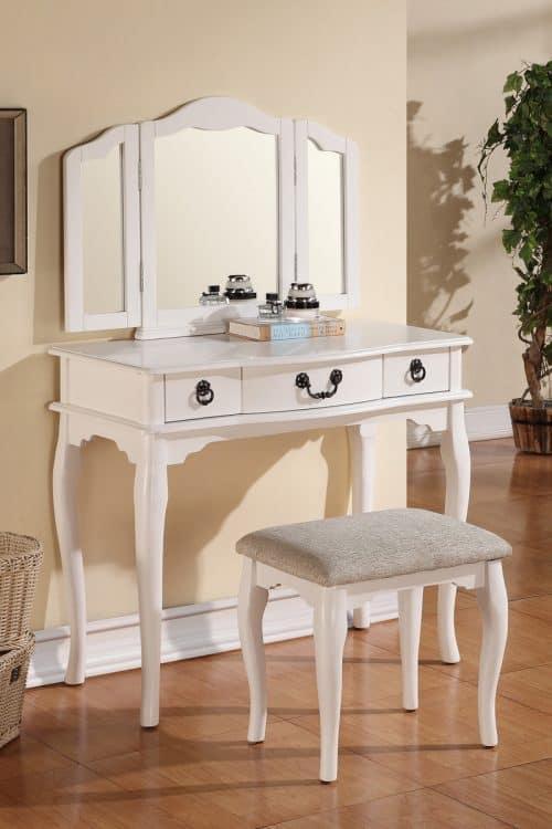 White Vanity Tri-folding Mirror