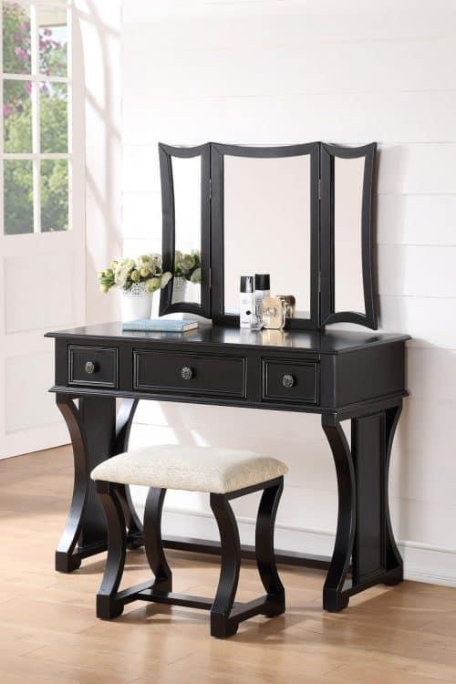 Black Vanity With Mirror Drawers Stool