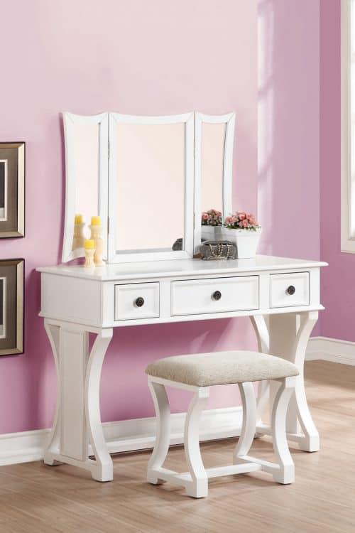 3 Panel Mirror Vanity White Finish