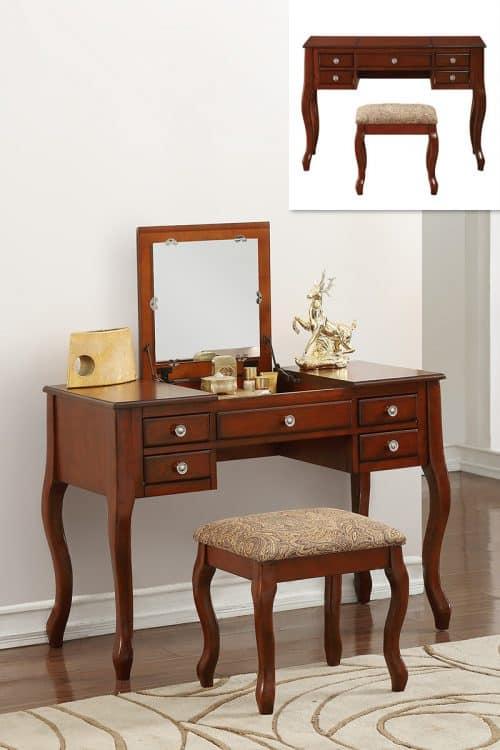 Vanity Cherry Flip Top Mirror Makeup Table