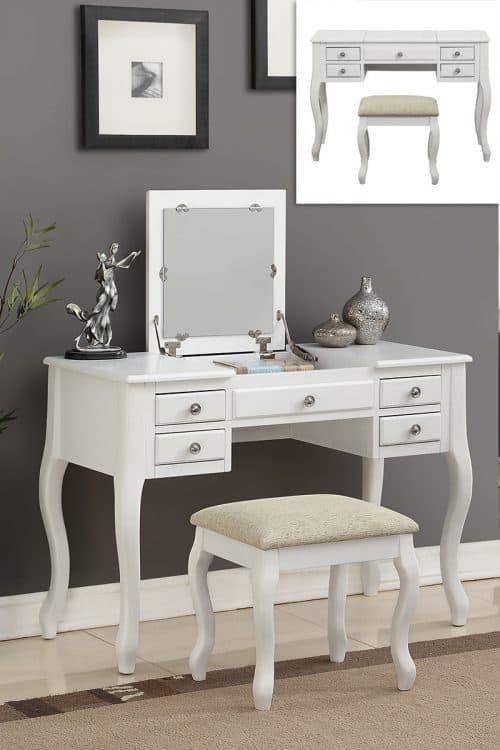 White Vanity With Flip Top Mirror & Stool