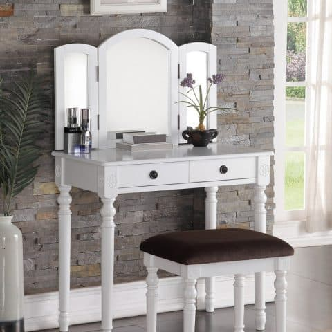 Small Vanity Table With Mirror White Finish