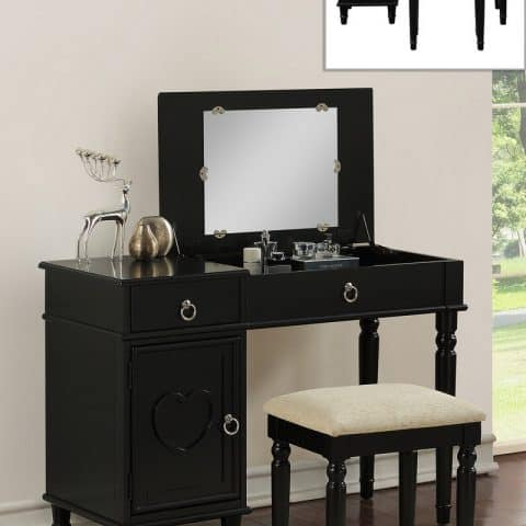 Vanity Black Glass Mirror With Center Storage