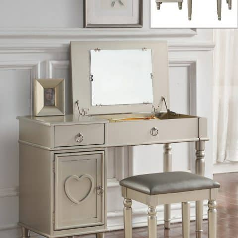 Vanity With Flip Down Mirror Silver Finish