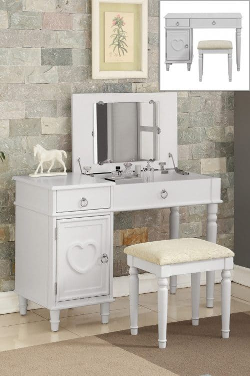 Vanity Flip Top Mirror Makeup Table